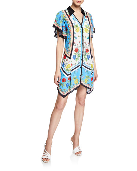 Alice + Olivia Conner Floral-Print Handkerchief Shirtdress