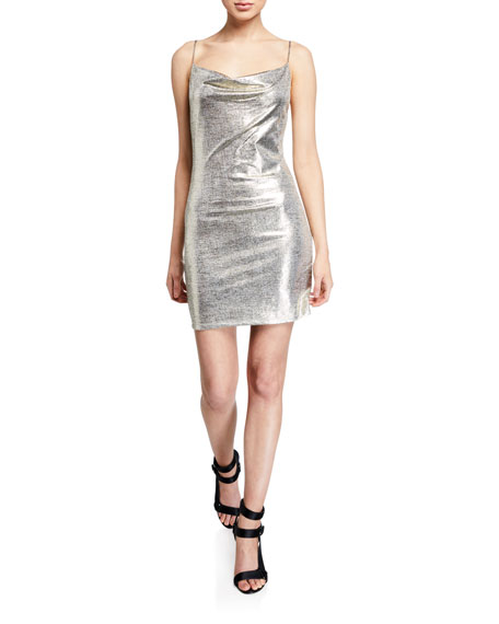 Alice + Olivia Harmie Metallic Cowl-Neck Mini Cocktail