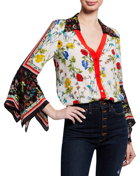 Alice + Olivia Randa Floral-Print Button-Down Trumpet-Sleeve