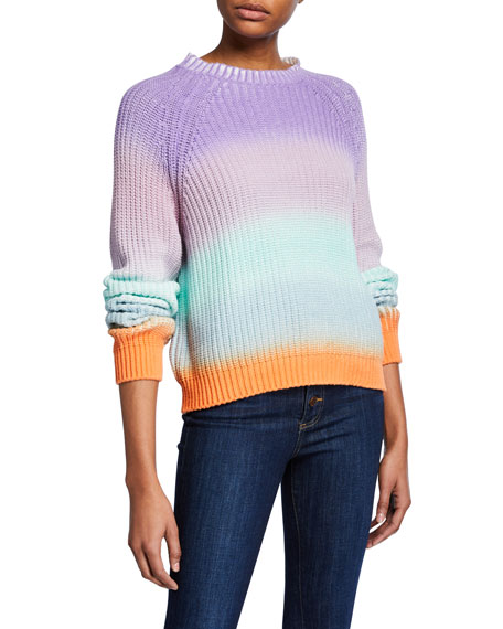 Alice + Olivia Dona Colorblock Crewneck Raglan-Sleeve Sweater