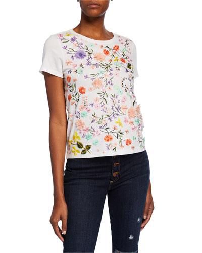 Rylyn Floral Embellished Short-Sleeve Crewneck Top