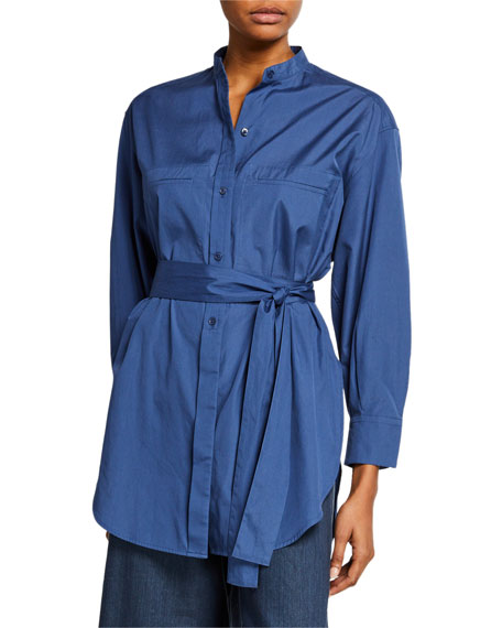 Long-Sleeve Oversized Belted Shirt