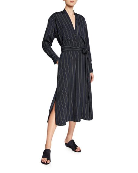 Vince Bold Stripe Belted V-Neck Midi Dress