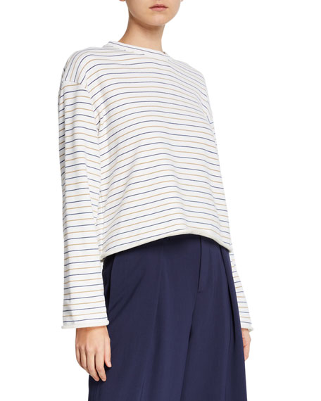 Tri-Stripe Long-Sleeve Pullover Sweater
