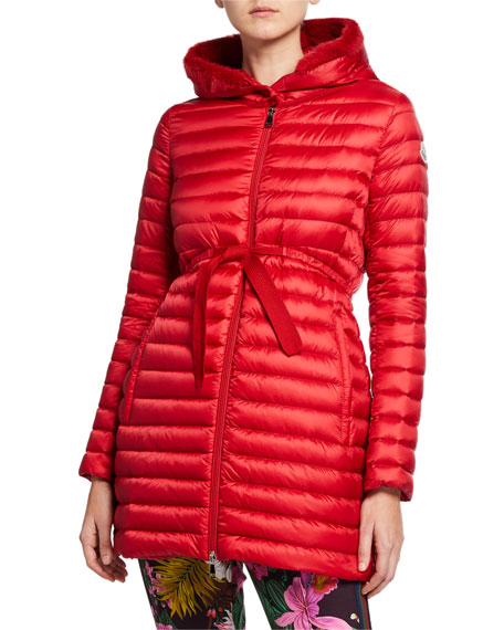 03d48d44b Moncler Barbel Quilted Puffer Coat with Fur Trim