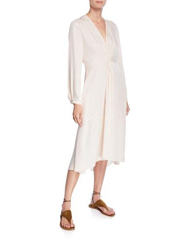 402083bba430b Promotion V-Neck Long-Sleeve Twisted Drape Dress