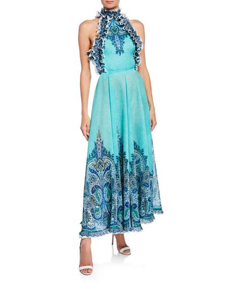 a1dac15984878 Zimmermann Moncur Ruffle-Neck Printed Pinafore Gown
