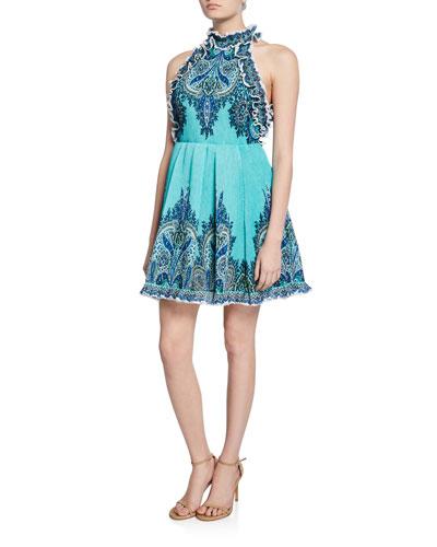 Moncur Ruffle-Neck Printed Mini Dress