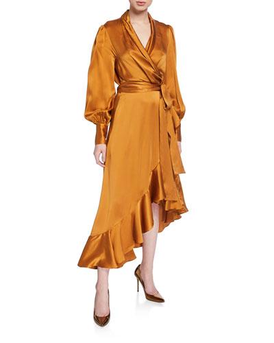 Surplice Long-Sleeve Silk Satin High-Low Wrap Dress