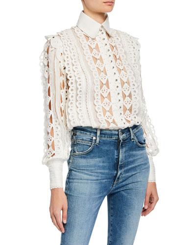 Moncur Silk-Linen Studded Shirt