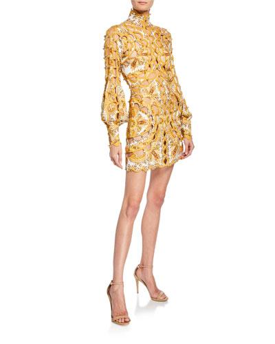 Zippy Scalloped Cutout Silk-Linen Mini Dress