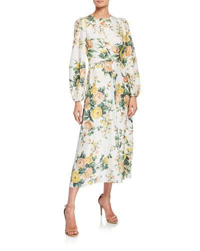 dd63db0ab0b2 Zippy Floral-Print Long-Sleeve Wrap Dress