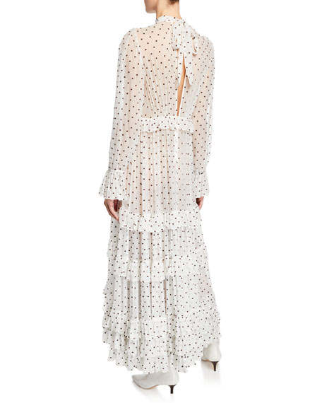 Zippy Polka-Dot Mock-Neck Long-Sleeve Tiered Gathered Frill Dress