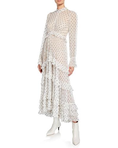 Zippy Polka-Dot Mock-Neck Long-Sleeve Tiered Gathered Frill Dress