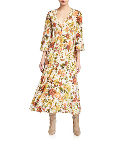Zippy Plunging Floral Long Dress