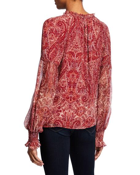 Luanne Paisley-Print V-Neck Blouson-Sleeve Top