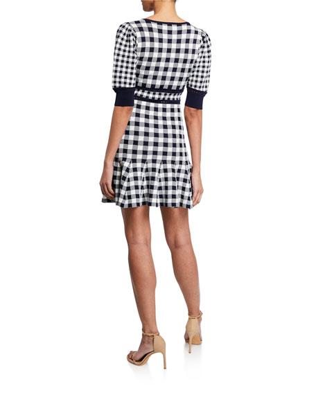 Gingham Knit Puff-Sleeve Mini Dress