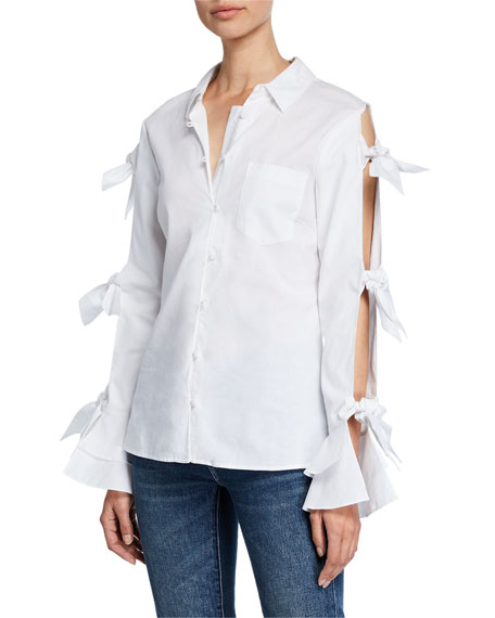Jonathan Simkhai Tie-Sleeve Button-Down Oxford Shirt