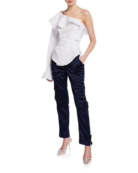 Structured Sateen High-Rise Utility Pants