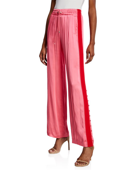 Jonathan Simkhai Side-Stripe Sateen Combo Track Pants