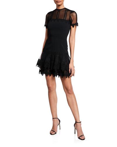 Guipure Lace Short-Sleeve Mini Dress