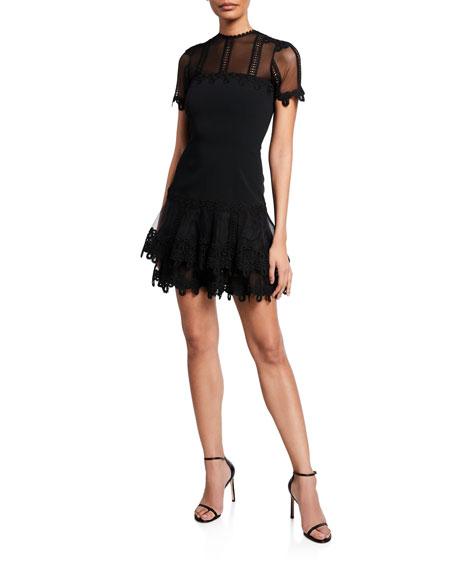 Jonathan Simkhai Guipure Lace Short-Sleeve Mini Dress