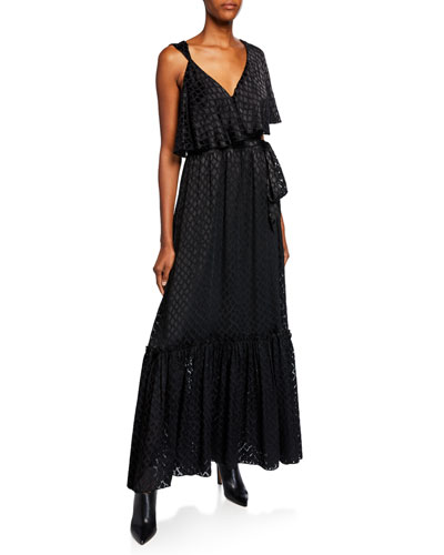 Ella Asymmetrical V-Neck Ruffle Maxi Dress