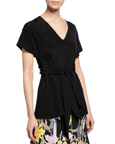 Lizzie V-Neck Short-Sleeve Tie-Waist Silk Top