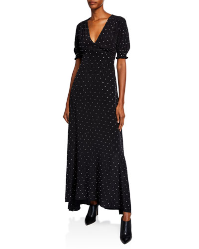 Avianna Dot-Print Silk Short-Sleeve Dress