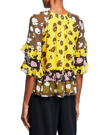 Annabel Tiered Floral Silk Tie-Neck Top