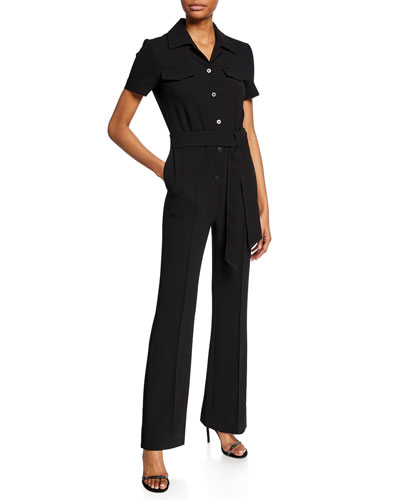 3dd1830572a Daisy Button-Front Short-Sleeve Jumpsuit with Belt