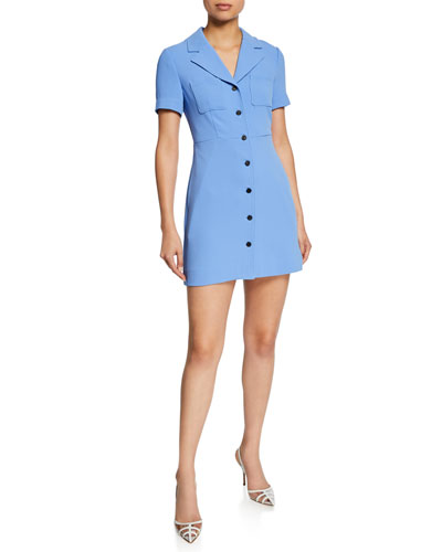 Rowan Button-Front Short-Sleeve Mini Dress