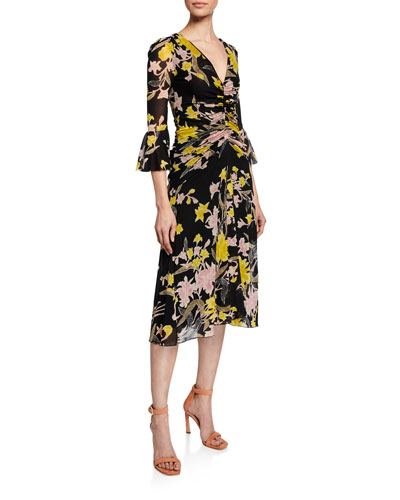 Silas Ruched Bell-Sleeve Floral Dress