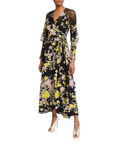 f8339ff0c5f9 Isla Printed Wrap Dress with Lace