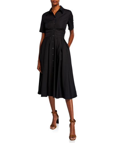 Claire Short-Sleeve Pleated Cotton Shirt Dress