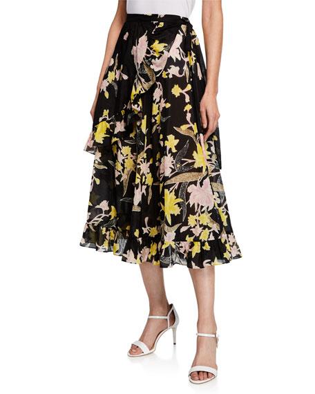 Diane von Furstenberg Rosalia Floral-Print Wrap Midi Skirt