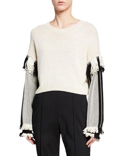 Long-Sleeve Cropped Fringe Pullover