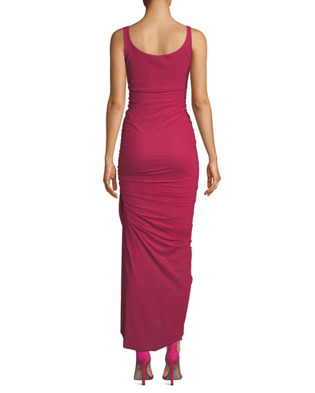 Dory V-Neck Sleeveless Shirred Dress w/ Asymmetric Hem