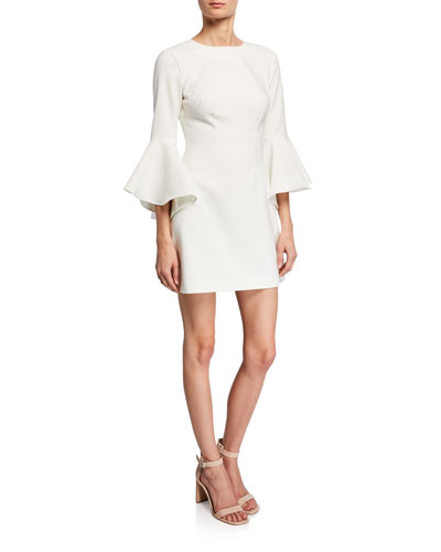 Mallory Crewneck Flounce-Sleeve Mini Dress