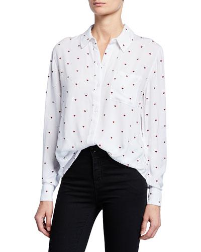 Rocsi Heart Button-Down Long-Sleeve Shirt