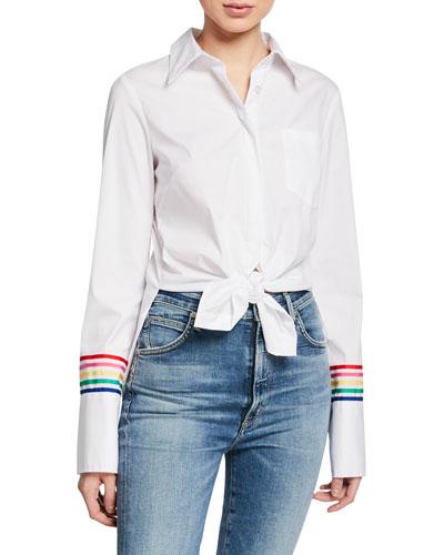 Button-Down Long-Sleeve Striped-Cuff Shirt