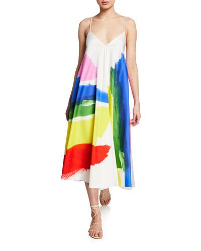 Ally V-Neck Sleeveless Brushstroke-Print Dress