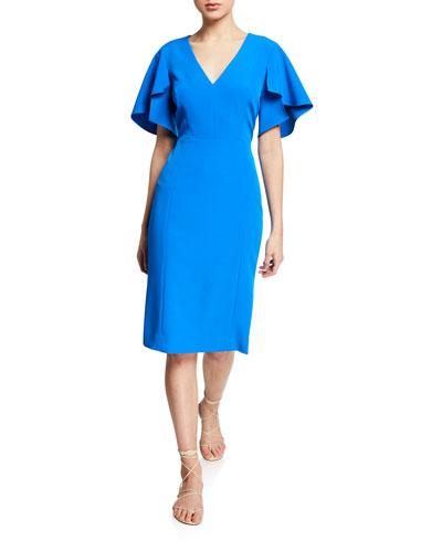 Veronica Flutter-Sleeve V-Neck Sheath Dress
