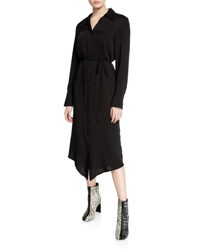 Button-Up Long-Sleeve Stretch-Silk Shirtdress