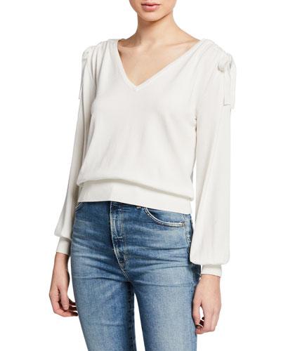 V-Neck Shirred-Shoulder Long-Sleeve Pullover