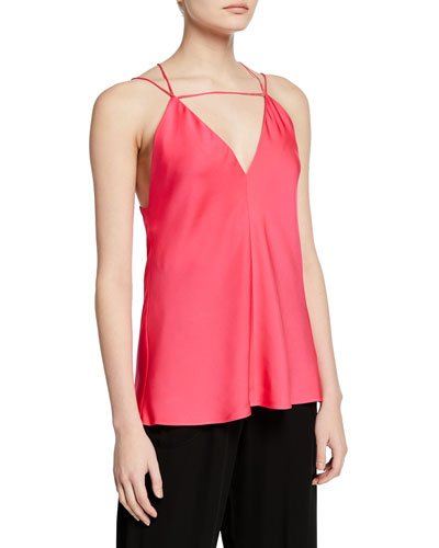 Trixie Strappy Stretch-Silk Top