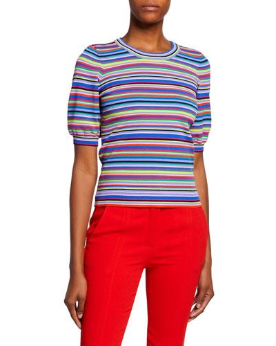 Twisted Multi-Stripe Short-Sleeve Pullover