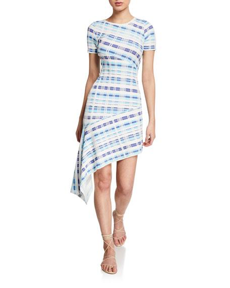 Milly Dresses PLAID DIRECTIONAL DRAPED SHORT-SLEEVE ASYMMETRIC DRESS