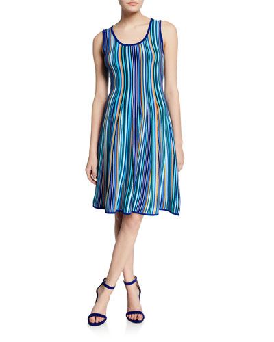 Twisted Multi Stripe Sleeveless Fit-and-Flare Dress