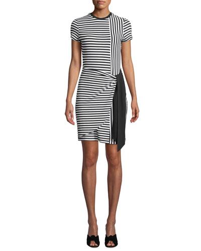 Hermosa Crewneck Short-Sleeve Striped Combo Dress
